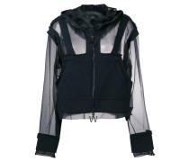 sheer front zip hoodie