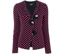 polka dotted jacket with large buttons