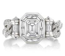 18kt Halo-Weißgoldring mit Diamanten