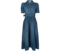 denim flared midi dress