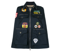patch appliqué and studded cape
