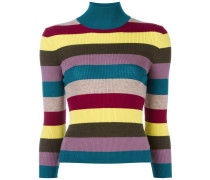 turtleneck striped knitted top