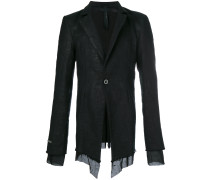 frayed-hem fitted blazer