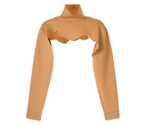 distressed-effect roll-neck knitted top