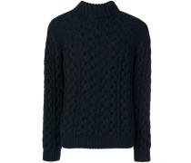 cable-knit turtleneck jumper