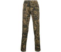 'D-Strukt' Jeans mit Zeitungs-Print