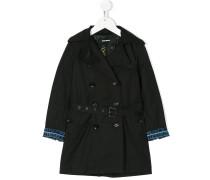 denim-trimmed Trench coat