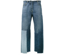 Boyfriend-Jeans in Patchwork-Optik