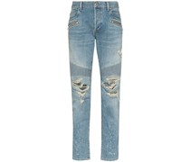 Tapered-Jeans in Distressed-Optik