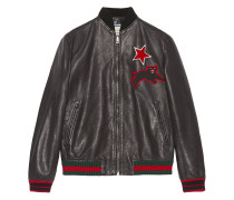 Leather bomber with embroideries