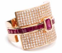18kt Rotgoldring mit Rubin und Diamanten