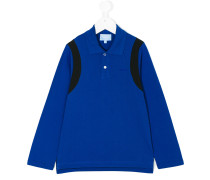 contrast-trim long sleeved polo shirt