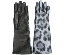 Lederhandschuhe mit Leoparden-Print