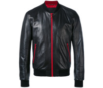 Leather Jacket with contrasting zips and lining