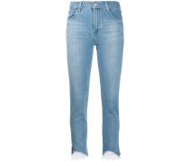 Skinny-Jeans mit Spitzensaum
