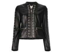 ring detail leather jacket