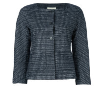 plaid cropped fitted jacket