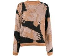 Intarsien-Pullover mit abstraktem Muster