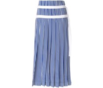 striped pleated skirt with double belt detail