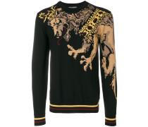 Intarsien-Pullover mit Löwenmotiv