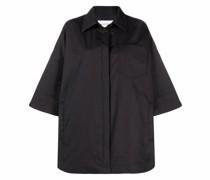 Popeline-Hemd mit Lederbesatz