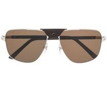 Sonnenbrille mit Lederdetail