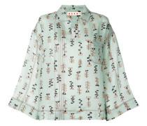 printed wide sleeve blouse