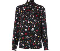 - floral tie neck blouse - women - Seide - 2