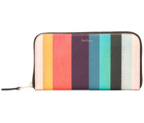 striped zipped wallet