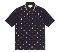 Poloshirt mit aufgestickten Symbolen