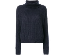 roll neck ribbed pullover