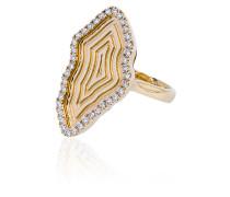 18kt 'Medallion' Gelbgoldring mit Diamanten