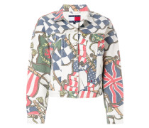 flag print denim jacket