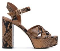 Sandalen mit Schlangenleder-Print, 125mm