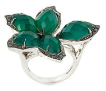 agate and diamond flower ring
