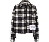 check-pattern cropped jacket