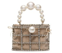 beige Holli pearl embellished brass cage bag