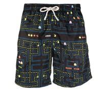 Packman-print drawstring-waist swim shorts