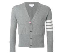 Short V-Neck Cardigan With 4-Bar Stripe In Light Grey Cashmere