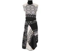 regenerated-knit melange asymmetric dress