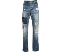 Patchwork-Jeans in Distressed-Optik