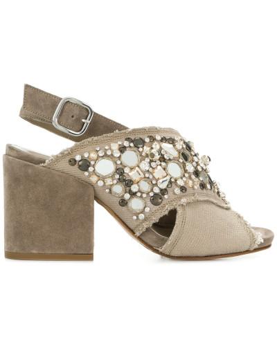 gem embellished block heel sandals