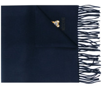 logo-embroidered fringed scarf