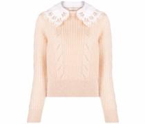 detachable lace-collar mohair-blend jumper