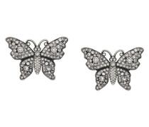 Crystal studded butterfly earrings