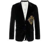 logo crest velvet blazer