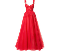 lace-embroidered flared ball gown