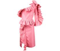 Schulterfreies Seidenkleid mit Rüschen