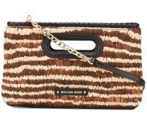 - striped clutch - women - Leder/Stroh