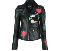 heart patches biker jacket